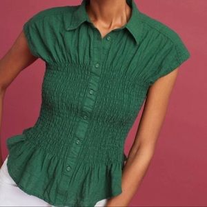 Maeve Anthropologie • Green Bellamy Smocked Top
